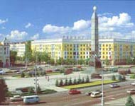 Victory Square with its 38-m obelisk and the Eternal Flame commemorating the heroes of World War II. City tour of Minsk